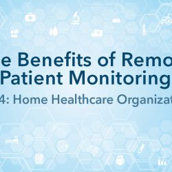 High tech graphic with title - The Benefits of Remote Patient Monitoring, Part 4: Home Healthcare Organizations