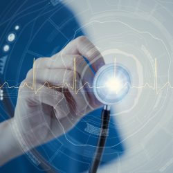 High-tech image of healthcare professional using a stethoscope