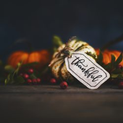 Pumpkin arrangement with thankful gift tag