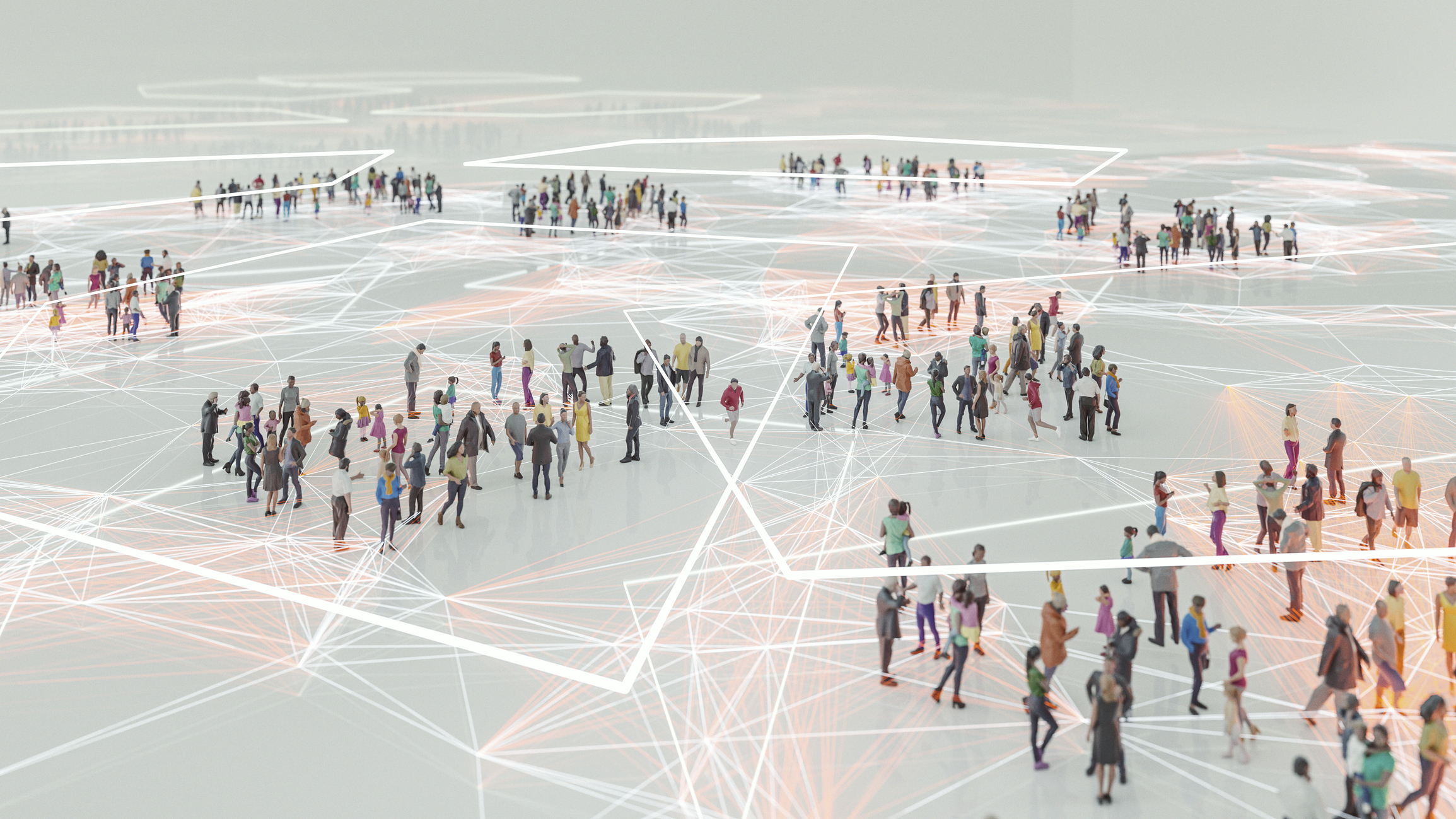 Groups of people within geometric shapes showing technology connections