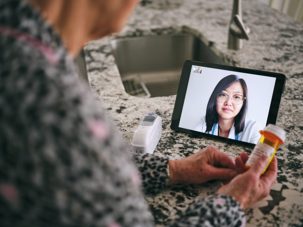 Telehealth visit with female doctor