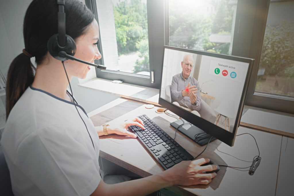 physician using telehealth for virtual patient visit