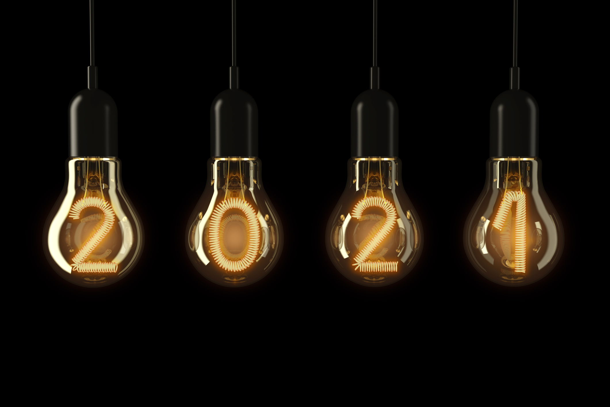 2021 in lightbulbs over black background