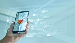mobile phone with healthcare icons